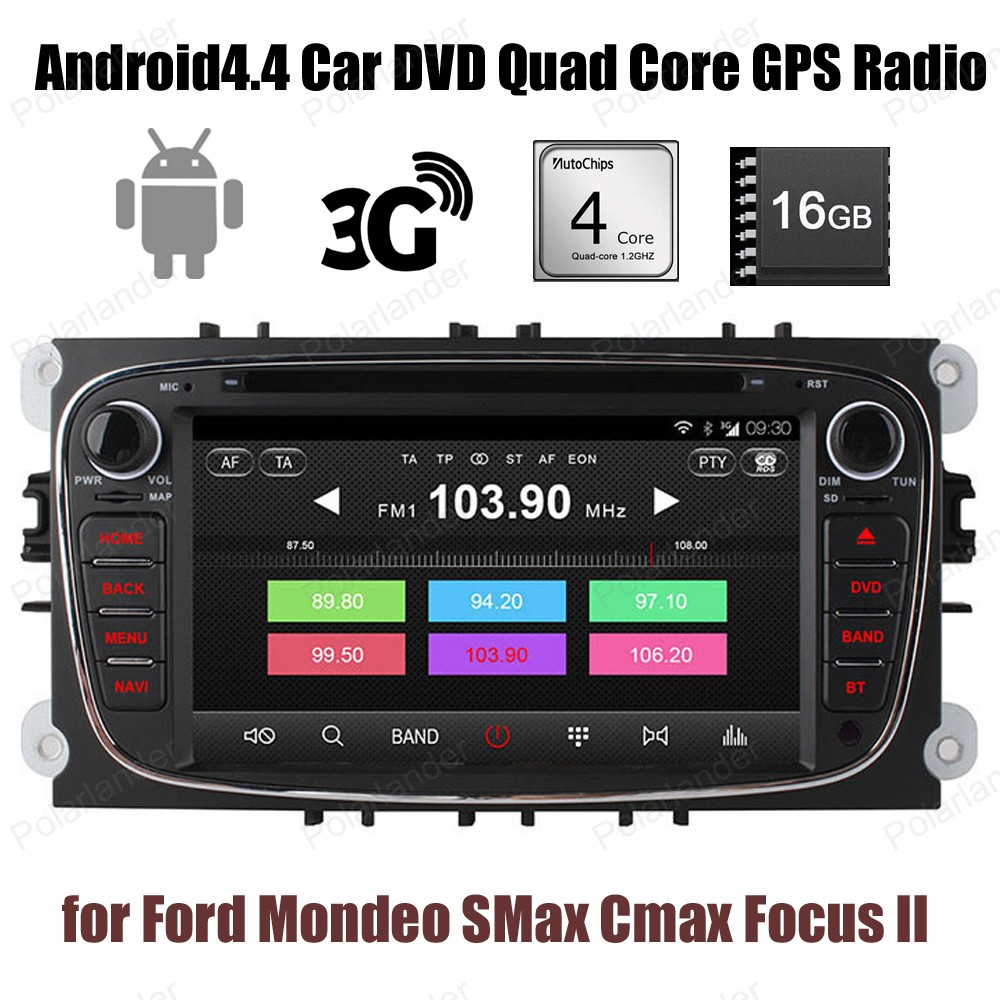 Pour Ford Mondeo s-max c-max Focus II 2 din voiture DVD Android4.4 1024*600 GPS Radio Wifi 3G BT 16G ROM stéréo