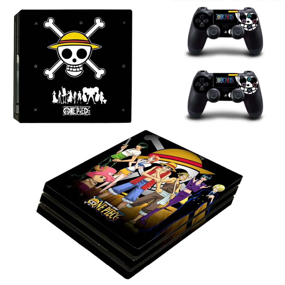 ONE PIECE Monkey D Luffy PVC Decals Cover Skin Stickers for PS4 Pro Console & 2 Controllers
