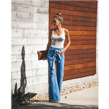 blue Tie Waist Flare Jeans Women Slim Denim Trousers Vintage Clothes 2019 spring High Waist Pants Belted Stretchy wide leg jeans