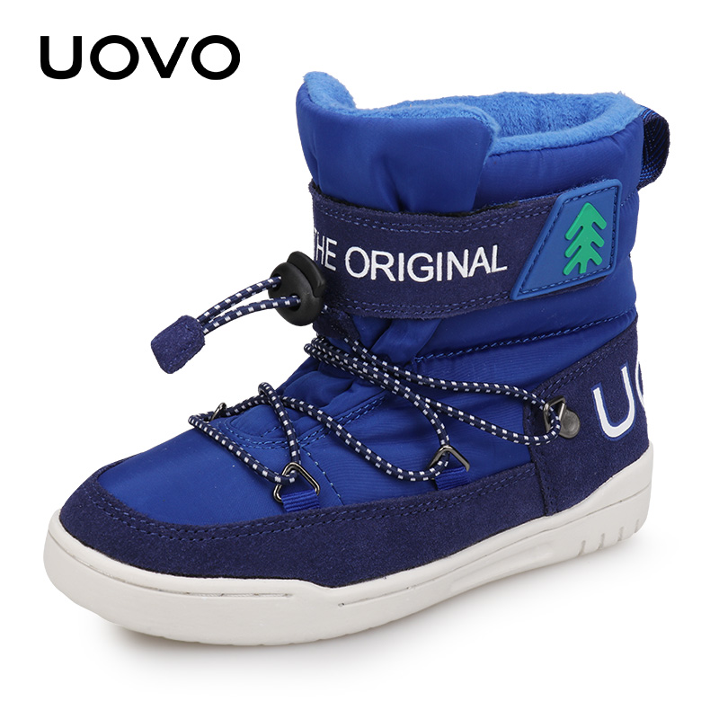 Children Ankle Winter Boots Uovo Boys Girls Casual Velvet Warm Sporty Boot Fashion Light-weight Footwear Size29-37 Cotton Shoes