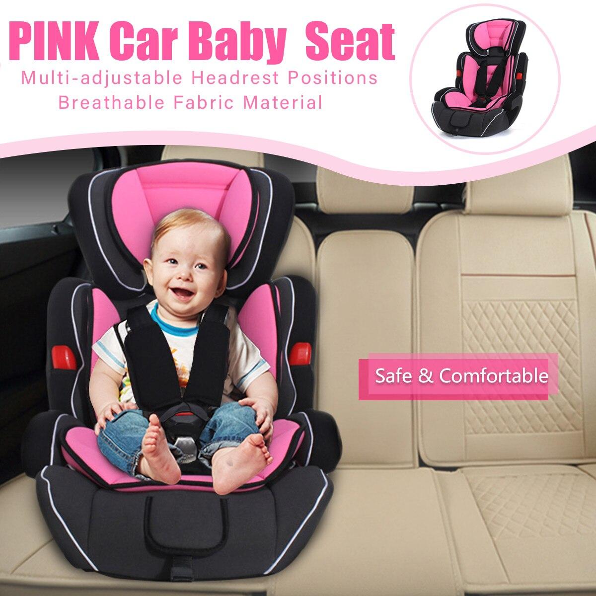 Siège auto bébé augmenté Convertible bébé enfants siège auto & rehausseur pour enfant 9-36 kg rose clair noir