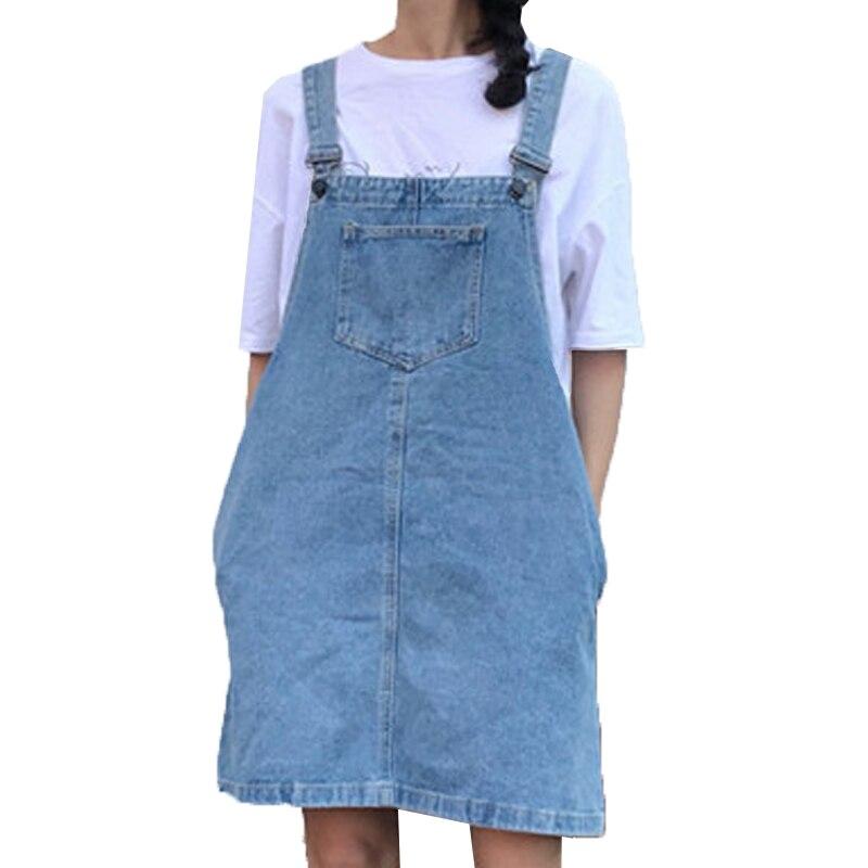 f294b31a312 Korean Style Suspender Denim Dress Harajuku Kawaii Preppy Style Casual  Pocket Strap Denim Dress Loose Overall. US  21.11. 2018 Summer Women Blue  ...
