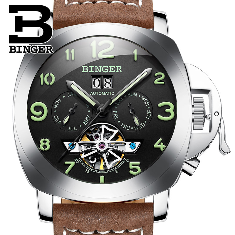 Suisse De Luxe Hommes de Montre BINGER Marque Horloge Multi-fonctionnelle Militaire Glowwatch Tourbillon Mécanique Montres B1170-2