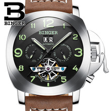 Switzerland luxury men's watch BINGER brand clock multifunctional military glowwatch Tourbillon Mechanical Wristwatches B1170-2