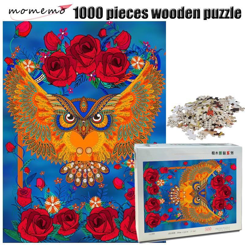 MOMEMO Owl and Rose Wooden Adult Jigsaw Puzzle 1000 Pieces Toy Color Abstract Painting Puzzle for Children Educational Toys Game