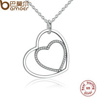 BAMOER Classic 925 Sterling Silver Heart To Heart Pendant Necklace Clear CZ Pendant Necklace For Women