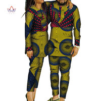 African Print Patchwork Top and Pants for Women Bazin Riche African Clothing Men Top and Pants African Couple Clothes WYQ259