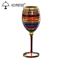 Colored drawing Big Champagne Flute Glass Crystal cup Red Wine Glasses Stemware For Vodka Cups hoem Bar Hotel party Drinkware