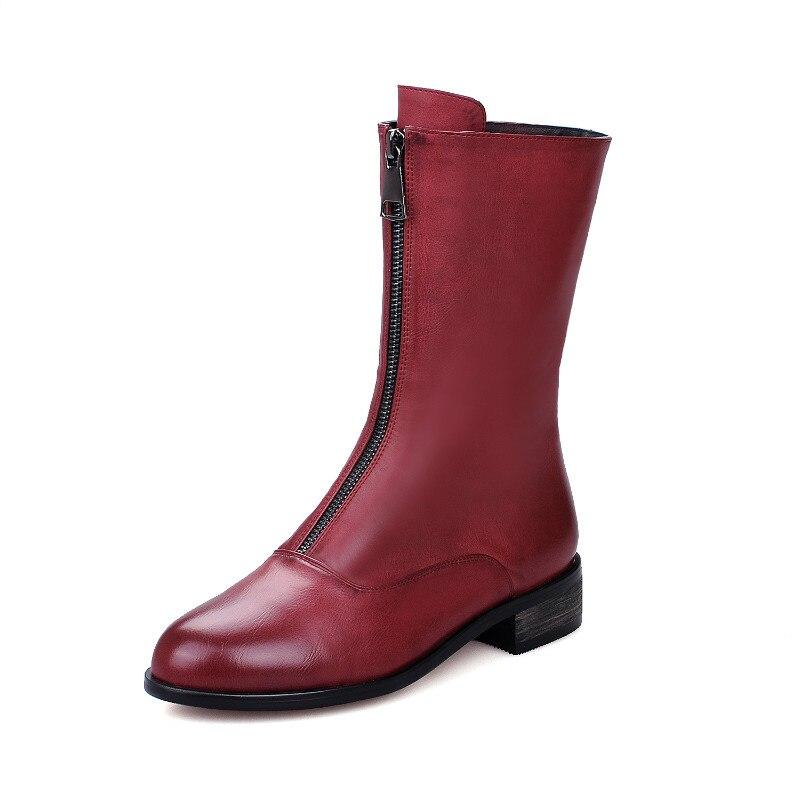 gris Noir Mode Bottes De Chaussures Cuir Femmes Bas Avec Femininas Bout À Pu Peluche Xiuningyan rouge Rond En Talons Cheville D'hiver Femme H4qw7B5xR