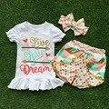 2016 nova frete grátis verão meninas roupas boutique colorido polka dot xadrez shorts roupa com acessórios combinando conjunto arco