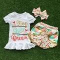 2016 nuevo verano del envío niñas boutique de ropa de colores plaid polka dot shorts outfit con accesorios a juego conjunto arco