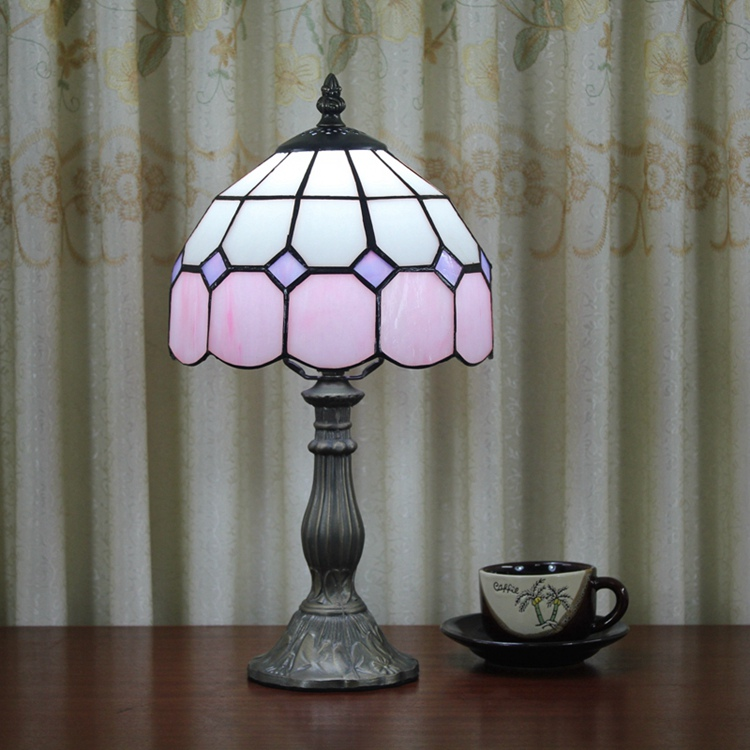 Stained Glass Mediterranean Simple Pink Creative Retro Art Ornament lighting bedroom Bedside decorative desk lamp 110-240V E27