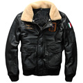 FREE SHIPPING 2017 Men Black Leather Pilot Jacket Wool Collar Genuine Cowskin Plus Size XXXL Men Winter Military Aviator Coat