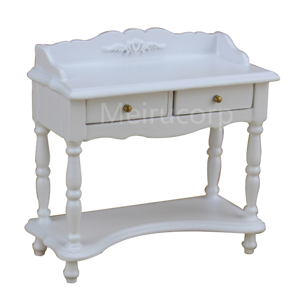 Fine 1/12 scale miniature furniture hand made white table for dollhouse