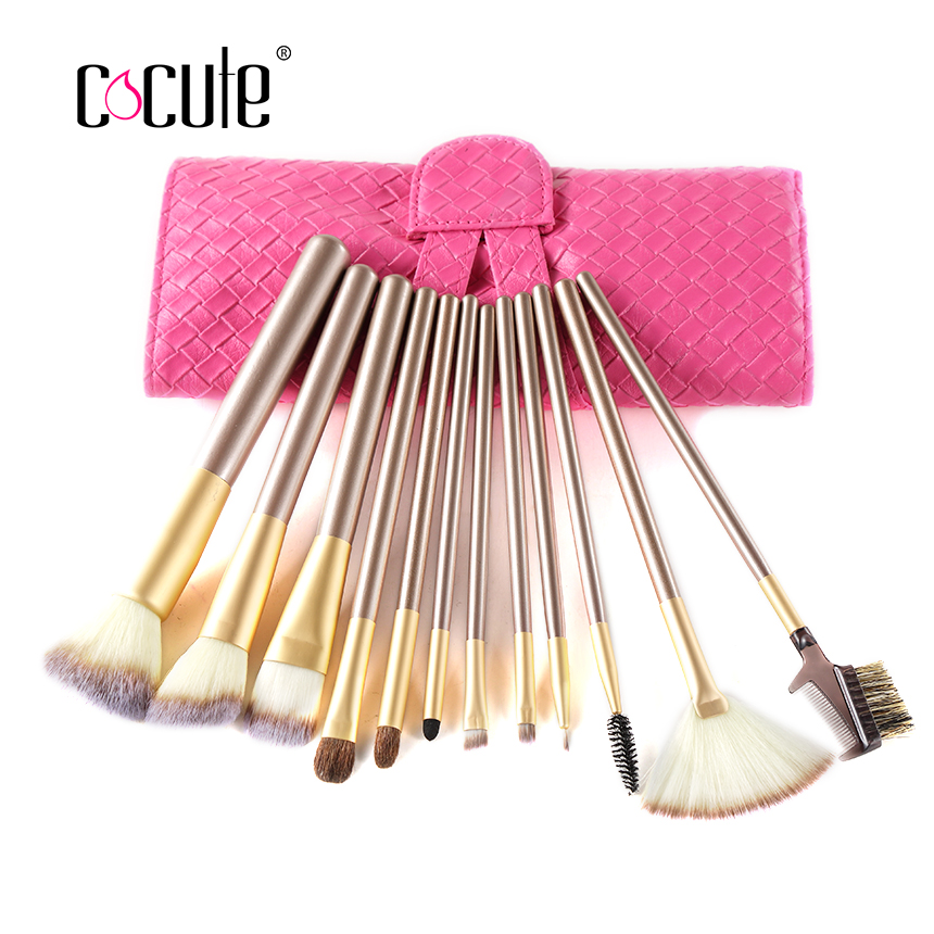 Professional Cosmetic pink 12pcs Face Makeup Brush Set With Black Leather Bag Make Up Brushes Toiletry Kit Wool 22pcs pink makeup brushes set professional maquiagem tool cosmetic make up fan brush tools set with leather makeup bag case