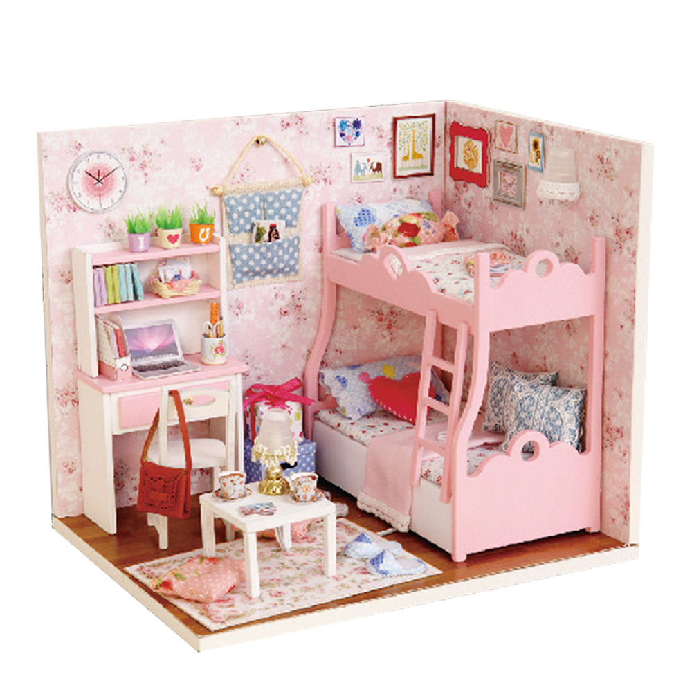 DIY Handmade DollHouse Sweet Creative Furniture Miniatura Toys House Model Building  for Chilidren Girls Grownups Birthday Gifts shelf