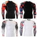 Mens Camisas de Compresión para MMA Lycra de Manga Larga Impresiones 3D Camisetas del Hombre Multi-funcional de Secado rápido Superior Masculina Tee Shirt