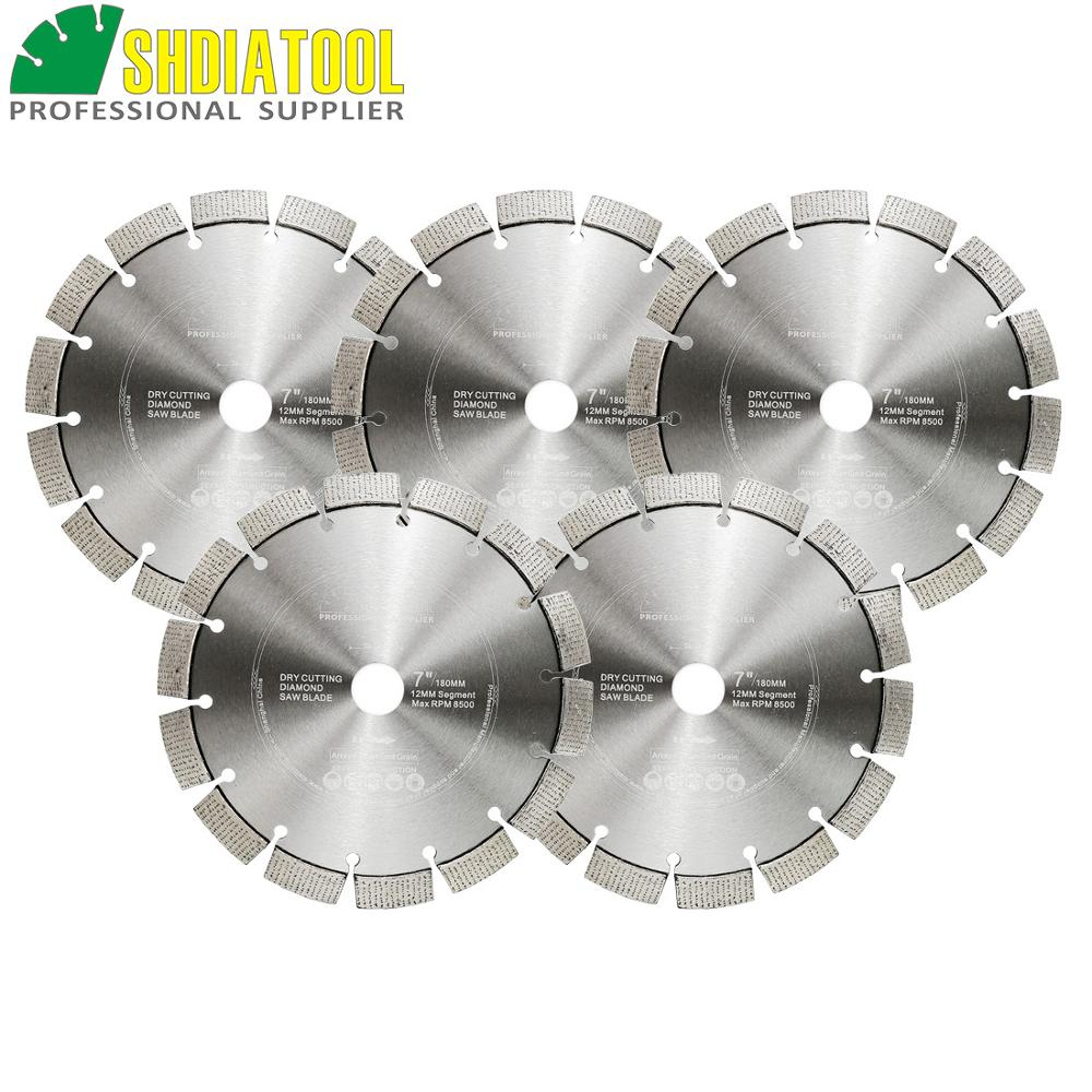 SHDIATOOL 5pcs Dia 180mm/7 Inch Laser Welded Arrayed Diamond Blades Cutting Disc Saw Blade Reinforced Concrete Diamond Wheel