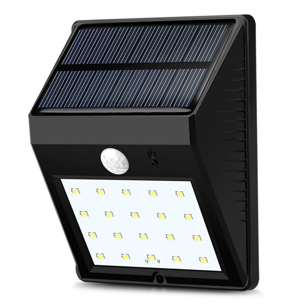 Dcoo lâmpada solar ao ar livre 20 leds sensor de movimento jardim decoração lampada luz solar à prova dwaterproof água jardim led solaire rua luz