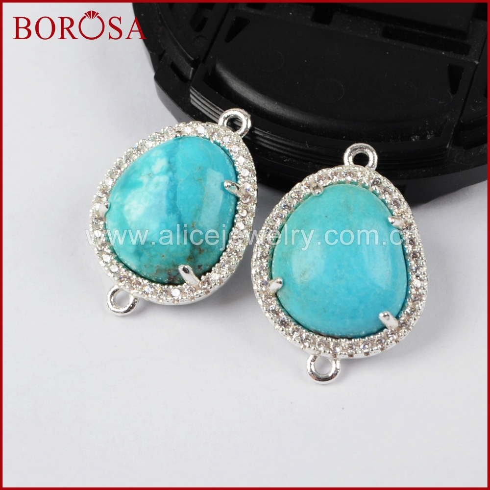 BOROSA New Silver Color Bezel Natural Blue Stone Connector Double ...