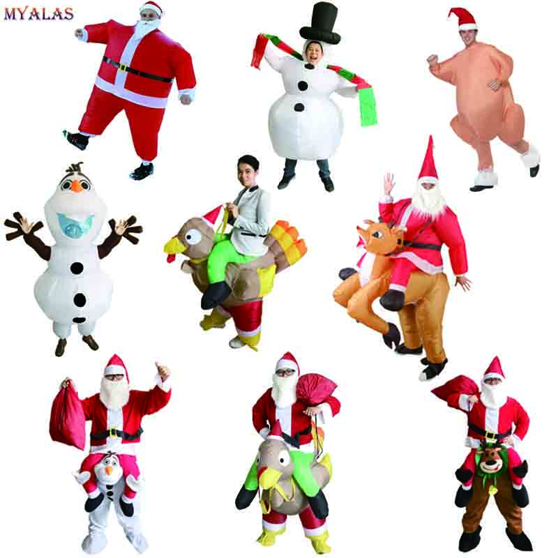 Inflatable Santa Claus Ride Reindeer Costume Snowman Turkey Chicken Mascot Christmas Cosplay Costume Clothing Suit For Adult