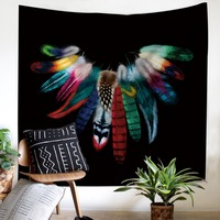 Colorful feathers Tapestry Home Decorations Wall Hanging comfortable Black bottom for family party Maiden style Tapestry
