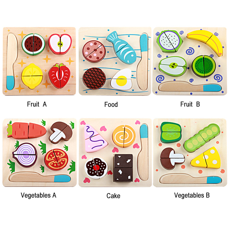 Wooden toys wooden kitchen cutting fruit and vegetables board real life toy 6 models kid children Educational baby toys