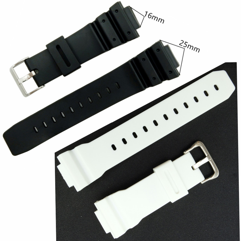 16mm Black White Watch Band Strap For <font><b>DW</b></font>-<font><b>5600E</b></font> <font><b>DW</b></font>-5700 G5600 5700 GM-5610 / 6900 9052 Series Watchband Replace And Tool image
