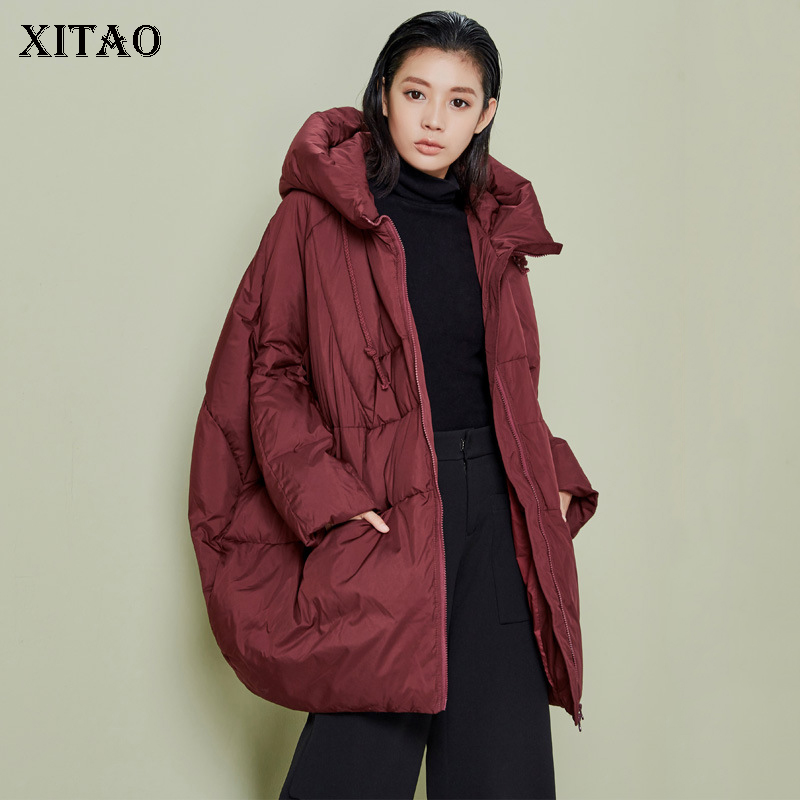 [XITAO] New Women 2018 Autumn Korea Fashion White Duck   Down   Asymmetrical Full Sleeve Solid Color Casual Thick   Down     Coat   ZLL1464
