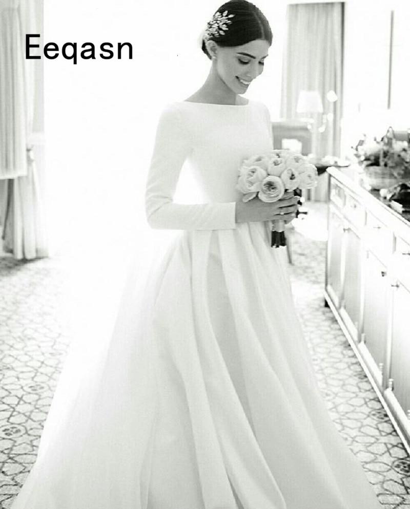 Simple Wedding Dresses 2018 New Fashion Satin A Line Long Sleeves White  Wedding Dress Sexy Bridal