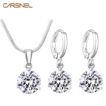CARSINEL, 21 цвет, ювелирные наборы для женщин, круглый кубический циркон, гипоаллергенная медь, ожерелье/серьги, ювелирные наборы, опт