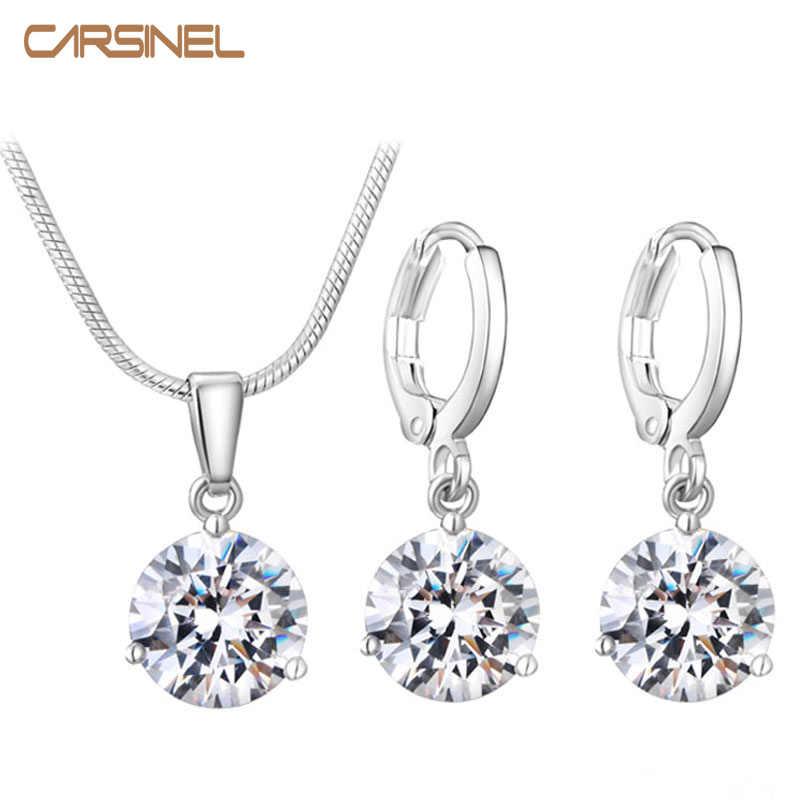 CARSINEL 21 kolorów zestawy biżuterii dla kobiet okrągła cyrkonia sześcienna hipoalergiczny miedziany naszyjnik/kolczyki komplety biżuterii hurt