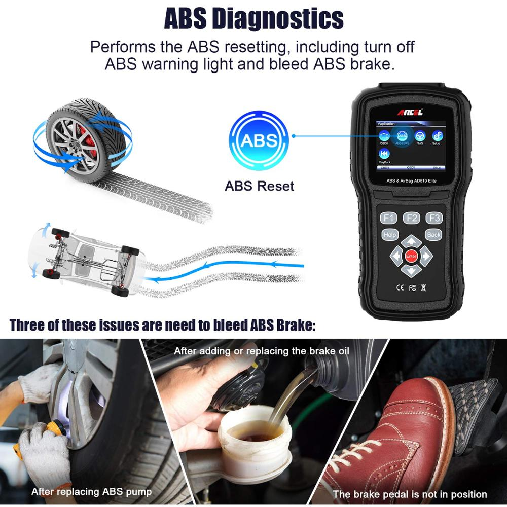 Image 3 - Ancel AD610 Pro OBD2 Car Diagnostics OBD 2 Scanner Erase Airbag Crash Data ABS SAS Full Engine Auto Scanner Works for 68 Cars-in Code Readers & Scan Tools from Automobiles & Motorcycles on
