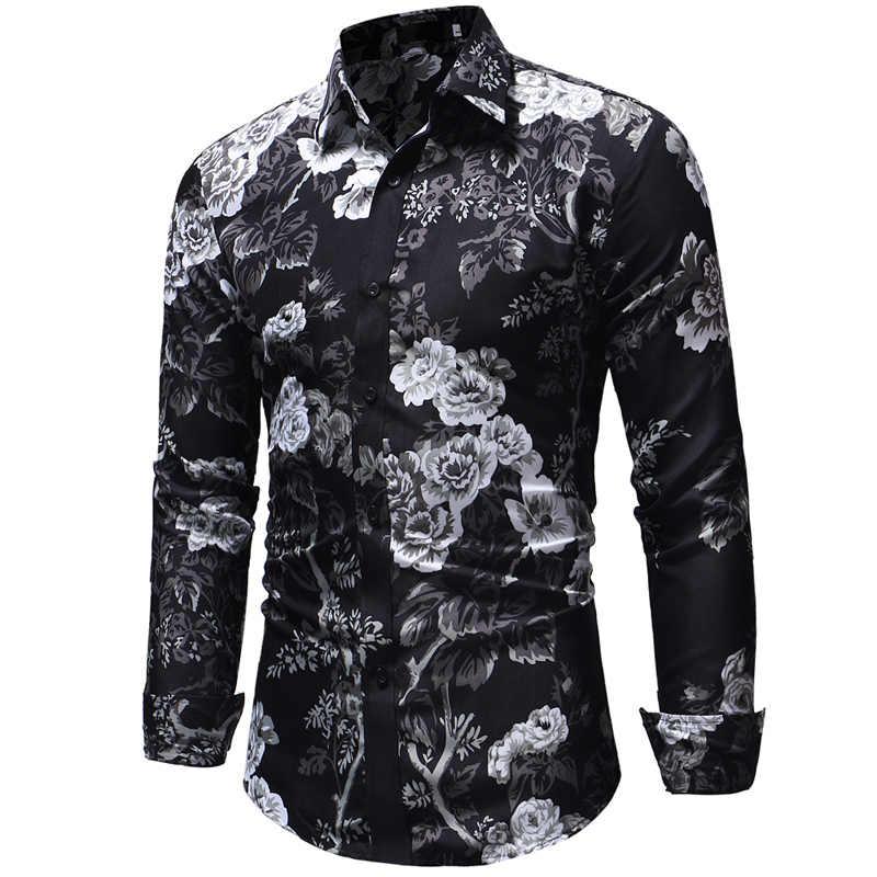 Для мужчин футболка с цветочным принтом гавайская рубашка 2018 Демисезонный новое платье с длинным рукавом рубашка Для мужчин s Свадебная вечеринка Camisa социальной Masculina