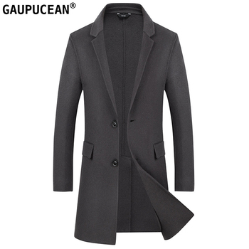 Man Wool Long Coat Slim Single-breasted Quality Buttons Crease Resistant Warm Pockets Grey Men Double-faced Woolen Overcoat