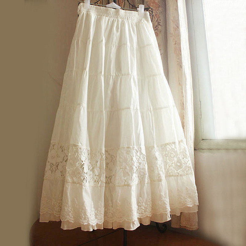 TIYIHAILEY Free Shipping New 2020 Fashion Spring And Summer White Cotton Lace Princess Long Maxi Elastic Waist A Line Skirts