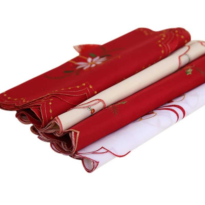 Рождественский новый год вышивка настольная дорожка полый Флаг украшения обеденный стол пылезащитный чехол для рождественские вечерние украшения банкета