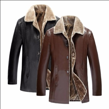 M-4xl Winter Pu Leather Jackets Turndown Fur Coats Men's Casual Leather Jacket Plus Velvet Thicken Overcoat Plus Size Clothing