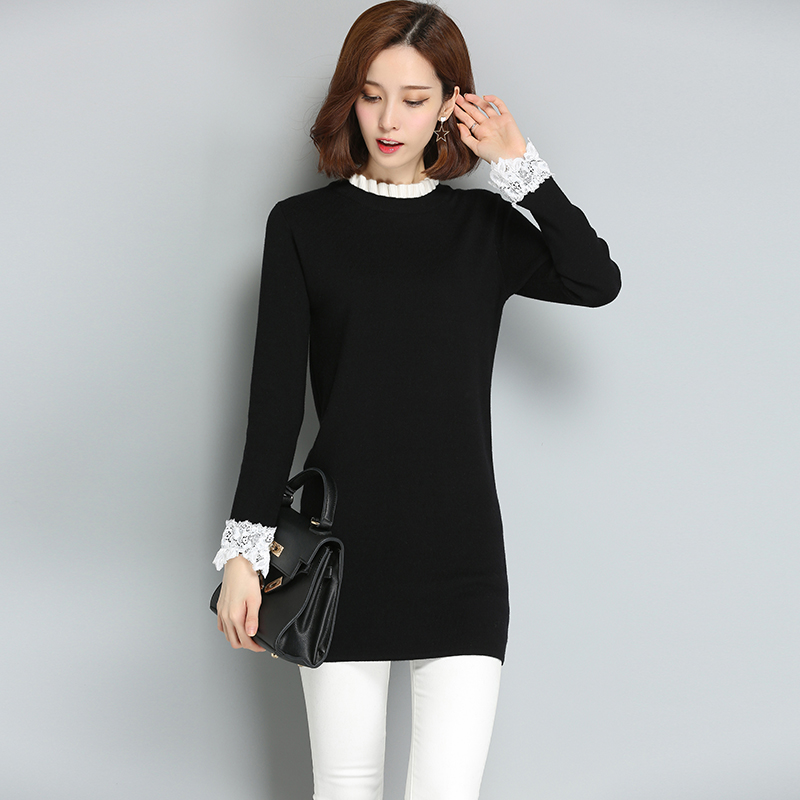 Lace Sleeve Black Dresses gray Patchwork Knitted Sweaters Women's pink 2018 Pullovers Long New Sweater HXa0wPqg