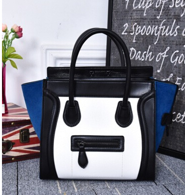 ФОТО Fashion newest Women's handbag  color block mobile smiley bags office lady one shoulder messenger bag cute