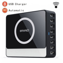Desktop Charger 8 Ports USB Mobile Phone Accessories Qi Wireless Travel For CellPhone Multi Phones Charging Station Eu