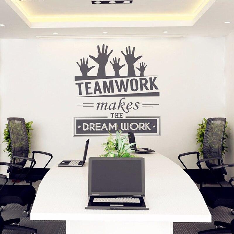 Офисные Наклейки на стену виниловая наклейка Книги по искусству офиса Фреска декор офиса Стикеры-Teamwork делает мечта работа котировки накле... ...