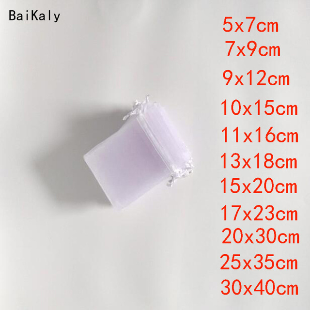 100pcs Drawstring White Small & Big Gift Bag Jewelry bag Pouch Organza Bags Favor Party Wedding Pouches Jewelry Packaging Bags