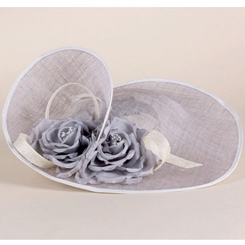 Image 2 - FS Elegant Royal Woman Large Brim Sinamay Wedding Dress Hat Flowers Gray Linen Summer Fedoras Dress Party Kentucky Derby Hats-in Women's Fedoras from Apparel Accessories