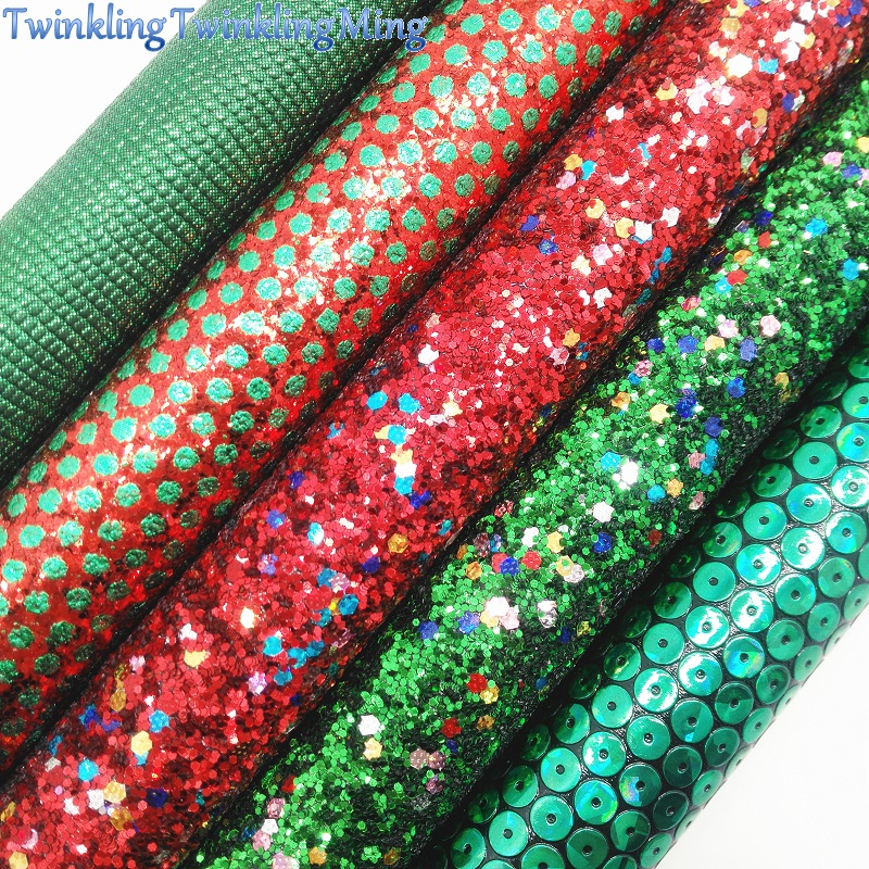 Red And Green Glitter Fabric For Christmas, Lizard Faux Leather Sheet For DIY Bows  A4 Size 8