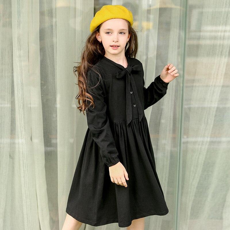 school teenage little girl dress 2017 autumn spring knee length kids princess dress long sleeve children dress little girls tops