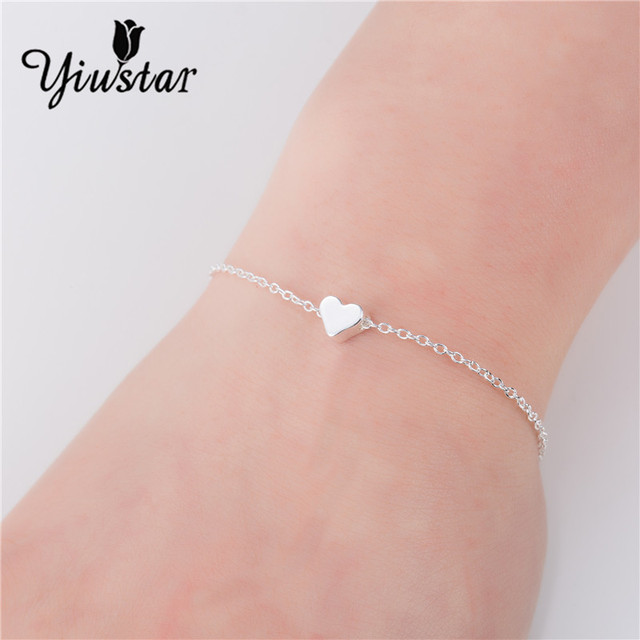 Yiustar Lovely Heart Bracelet Handmade Jewelry Simple Silver Chain Bangles Valentine S Day Gift For