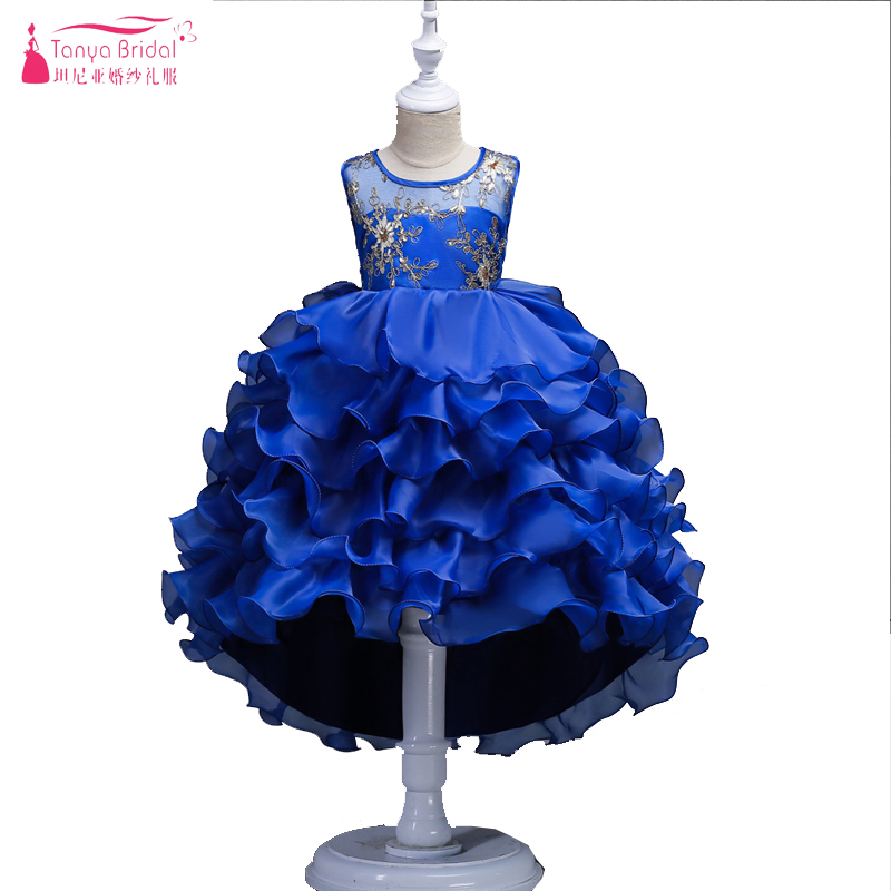 Hot Sale Blue Ruffles   Flower     Girls     Dresses   High Low amazing Lovely Baby communion   dresses   Important Party Gowns In Stock ZF013