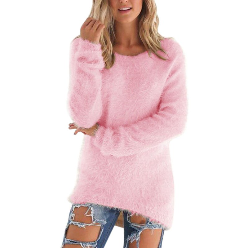 Casual Solid Color Plush Sweater