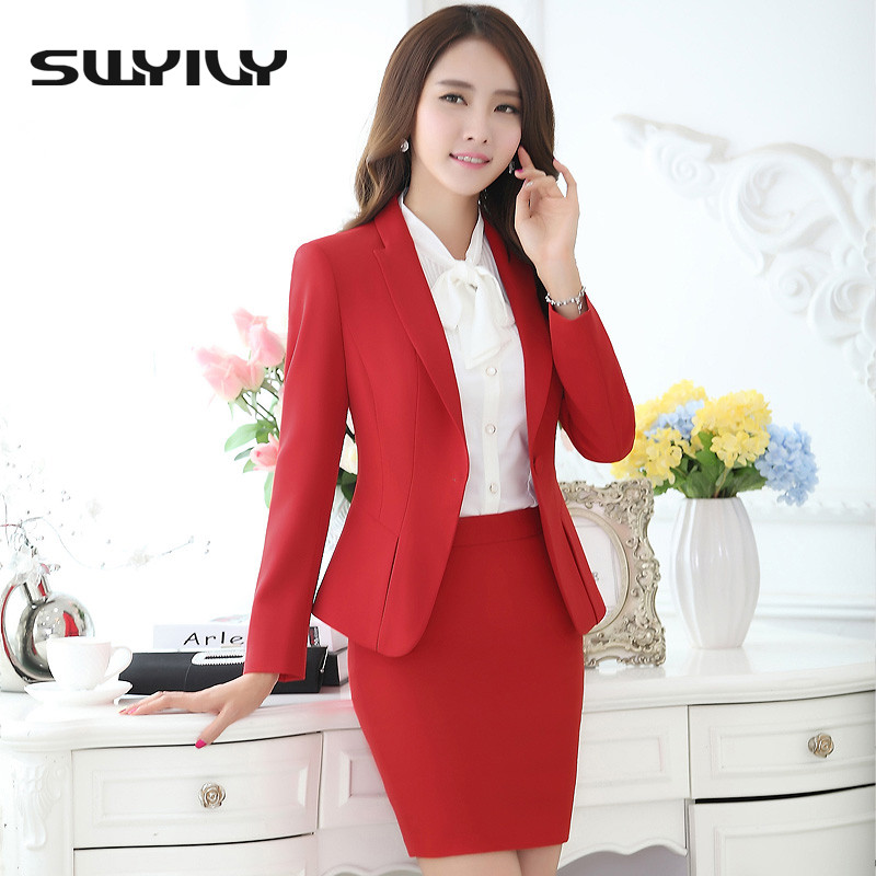 Women Office Skirt Suit Plus Size 4XL 5XL 2016 Slim OL Elegant Ladies Long Sleeve Suits For Work Autumn Female Business Suits